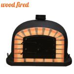 BLACK DELUXE BLACK DOOR WOOD FIRED PIZZA OVEN 70CM-100CM, ORANGE ARCH, BLACK DOOR